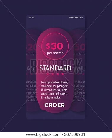 Banner For Tariffs With Prices, Vector Mobile Template