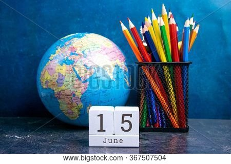 June 15 On The Wooden Calendar.the Fifteenth Day Of The Summer Month, A Calendar For The Workplace.