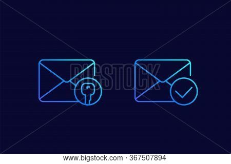 Encrypted Message Or Email, Linear Icons, Eps 10 File, Easy To Edit