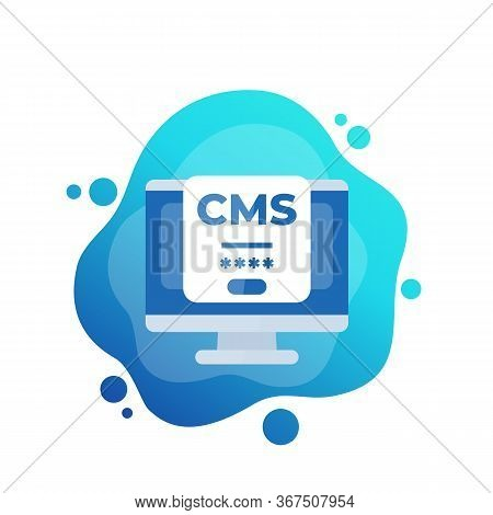 Cms Login Icon, Content Management System, Eps 10 File, Easy To Edit