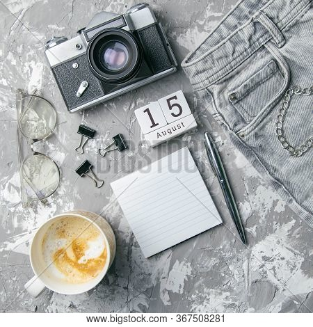 August 15 On The Wooden Calendar.the Fifteenth Day Of The Summer Month, A Calendar For The Workplace