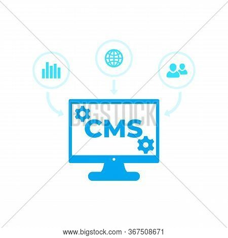 Cms, Content Management System Vector Icons, Eps 10 File, Easy To Edit