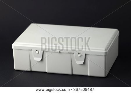 First Aid Kit With Isolated Black Background, First Aid Kit Used For Medical Assistance, Black First