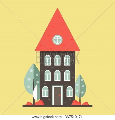 Cute Dwelling House With Trees And Bushes. Bright Colors. Isolated Vector Illustration In A Flat Sty