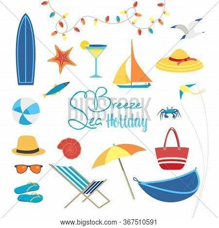 Summer Sea Beach Holiday Activity Vector Icon Set. Leisure Relax Design Element Collection. Seaside