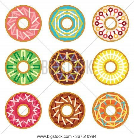 Donuts Set With Geometric Linear Ornament Granules Funfetti Sprinkles. Colorful Dessert Cookies Coll