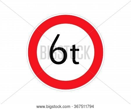 Road Sign Limitation 6 Tons Icon. Element Of Traffic Signs Icon For Mobile Concept And Web Apps. Thi