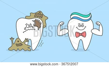 Healthy Cartoon Tooth With Toothpaste And Decayed Tooth With Bacteria And Caries. Dental Care And Hy