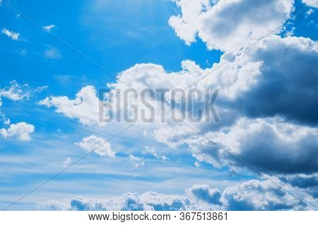 Blue sky background, vast sky landscape panoramic scene. Colorful blue sky view in bright tones. Sky scene, blue sky background. Sky nature view, vast sky nature scene. Sky background
