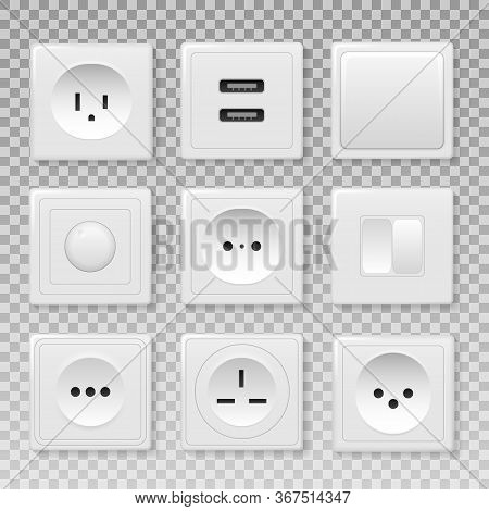 Square Rectangular And Round White Wall Switch And Sockets. Power Electrical Socket Electricity Turn