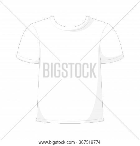 Cartoon Mockup T-shirts, White T-shirt, Cotton T-shirt. Vector Illustration.