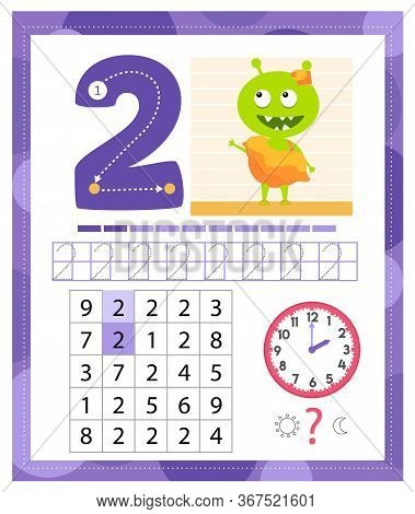 Learning Number 2 With Funny Monster. Coloring Printable Worksheet For Kindergarten And Preschool. T