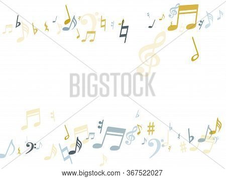 Silver Gold Music Notes Vector Background Illustration. Musical Background With Note Signs And Symbo