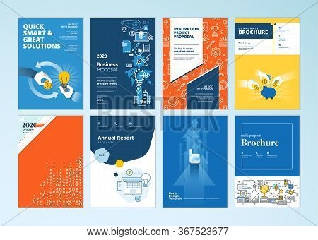 Set Of Brochure, Annual Report, Business Plan Cover Design Templates. Vector Illustrations For Busin
