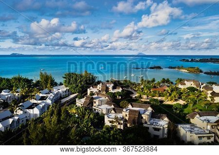 Aerial Photography Of A Coral Reef And A Hotel Complex With Beaches In Mauritius, The North-east Coa