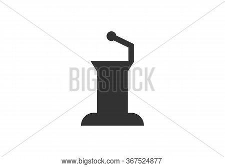 Vector Illustration Isolated 3d Conference Speech Tribune Icons Set On White Background
