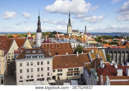 Aerial View Of Tallinn Old Town From Town Hall Tower, With Raekoja Square, Holy Spirit Lutheran Chur