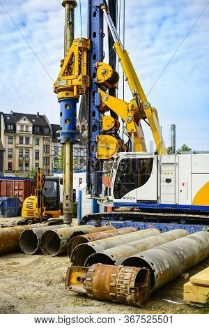 Building With Drilling Machine. Drilling Machine Ready To Drill Piles On A Building Site