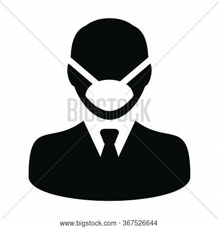 Virus Mask Icon Vector Person Profile Male Avatar Symbol For Medical And Health Care Protection In A