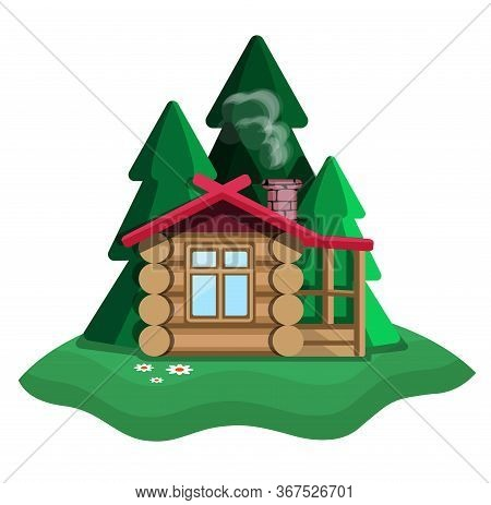 House In The Forest. Log House With Fireplace. Forest Glade. Christmas Trees And A House On A White