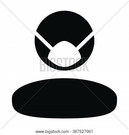 Dust Mask Icon Vector For Virus Safety Protection Person Profile Male Avatar Symbol For Health Care