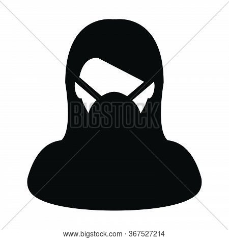 Wearing Mask Icon Vector For Virus Safety Protection Person Profile Female Avatar Symbol For Medical