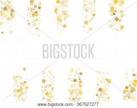 Small Gold Square Confetti Tinsels Scatter On White. Chic New Year Vector Sequins Background. Gold F