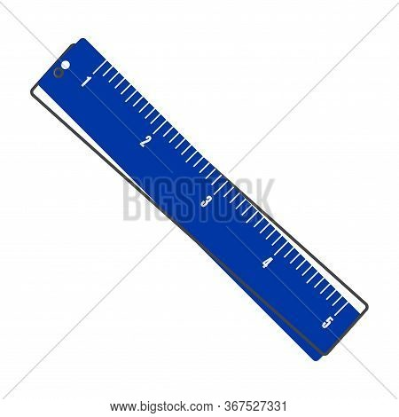 Vector Icon Ruler. Metric System. School Measuring Lance. Measuring Tape Cartoon Style On White Isol