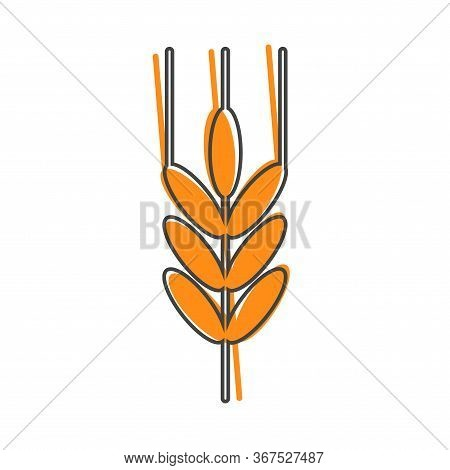 Vector Icon Ears Of Wheat, Cereal. Ear Of Oats. Rue Ears Cartoon Style On White Isolated Background.