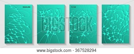 Biotechnology And Neuroscience Vector Covers With Neuron Cells Structure. Doodle Curve Lines Blend B