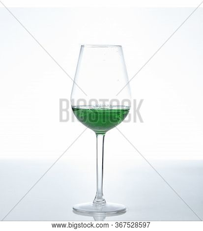 Peppermint Liqueur Cocktail Isolated On A White Background.