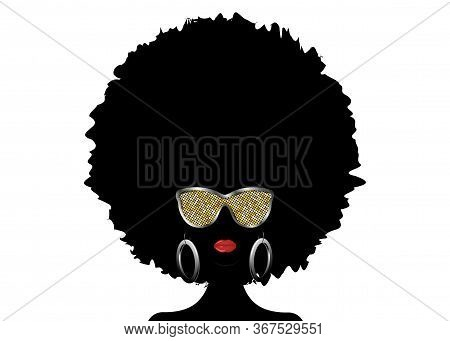 Portrait African Woman Silhouette,  Dark Skin Female Face With Afro Curly Hair And Gold Metal Sungla