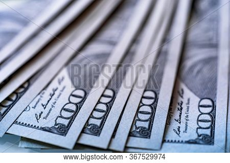 One Hundred 100 American Dollars Bills Background. Pile Of Usa Banknotes. Heap Of American Money Bac