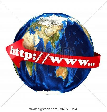 World Wide Web Icon. Red Arrow With White Text Http://www... On The Background Of The Globe. Isolate