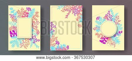 Simple Herb Twigs, Tree Branches, Leaves Floral Invitation Cards Collection. Herbal Corners Rustic I