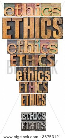 ethics word abstract in a form of exclamation point - a collage of isolated text in vintage letterpress wood and metal type