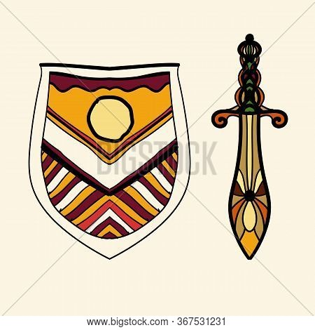 The Stylized Shield And Sword Are Located Side By Side, Presenting The Idea Of Chivalry And The Old