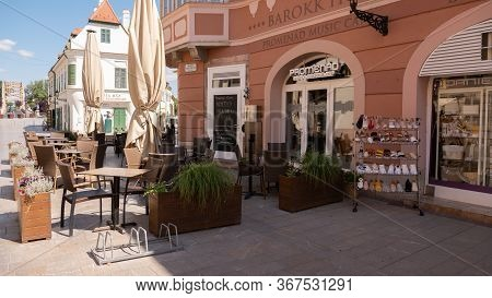 Gyor Hungary 05 21 2020: Terrace Of A Restaurant Without Guests Due To The Coronavirus.