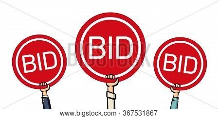 Auction And Bidding Concept. Bidders Hands Lifting Auction Paddles. Vector Illustration