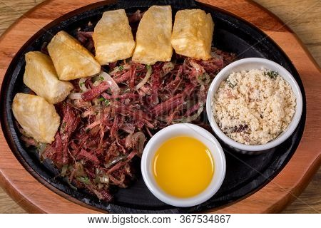 Dried Beef With Cassava, Traditional Brazilian Food. Top View.