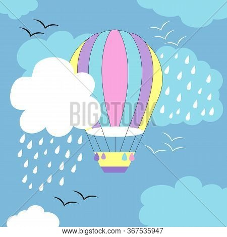 Airy Multi-colored Shao In Blue And White Clouds, Clouds With Rain, White And Black Birds Soar In Th