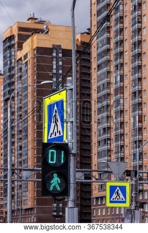 Road Signs And Pedestrian Crosswalk Symbols. Traffic Light With Pedestrian Crosswalk On Background O