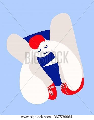 Abstract Person Sitting On Floor Making Trying To Tie Shoelaces On His Red Sneakers