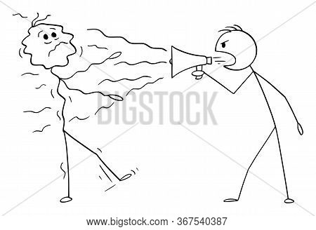 Cartoon Stick Figure Drawing Conceptual Illustration Of Man, Politician Or Businessman Using Loudspe