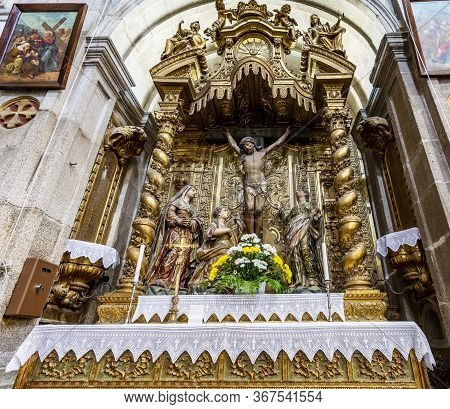 Arouca, Portugal - September 08, 2019: View Of The Gilded Altarpiece Of The Calvary In The Church Of