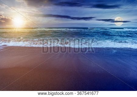 Day And Night Time Change Concept Above Sandy Beach And Turquoise Sea. Great View Of Waves Rolling T