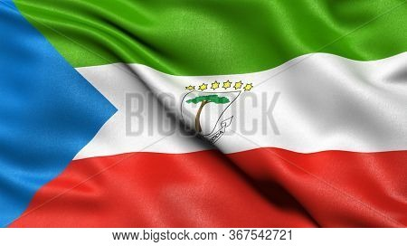3D illustration of the flag of Equatorial Guinea waving in the wind.