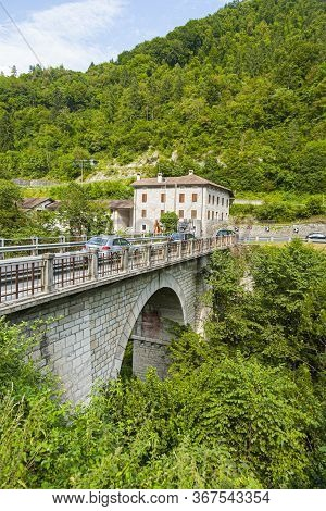 Belluno, Italy - August 2, 2009: Old Abandoned Hotel At The Serra Bridge In Belluno, Italy. The Old