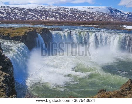 Scenic Spectacular Huge Dettifoss Waterfall In Iceland