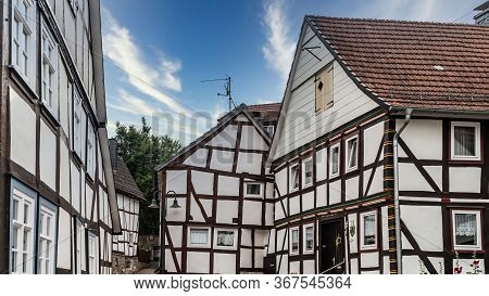 House Gable Of A Half Timbered House In Frankenberg, North Hesse, Germany